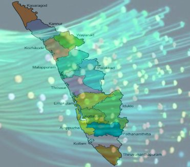 Map of Kerala with the background of optical fibers