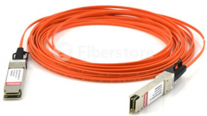 coil of orange colored fiber optic cable with connectors attached to both ends