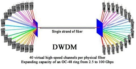 A single mode fiber transmits many wavelengths in one mode