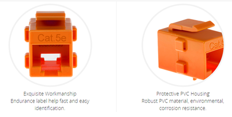 The figure shows the Cat5e RJ45 inline coupler (orange). This Cat5e RJ45 Coupler offers a practical, cost-effective solution for joining two RJ45-terminated cables together to form one long cable.