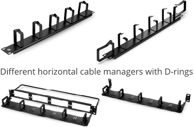 Figure 2: Different horizontal cable managers with D-rings