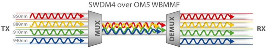 four wavelength SWDM transmission over OM5 fiber