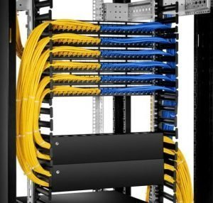Ethernet Cable Management cabinet with racks and cables