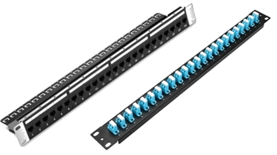 Ethernet Patch Panel (Left) and Fiber Optic Patch Panel (Right)