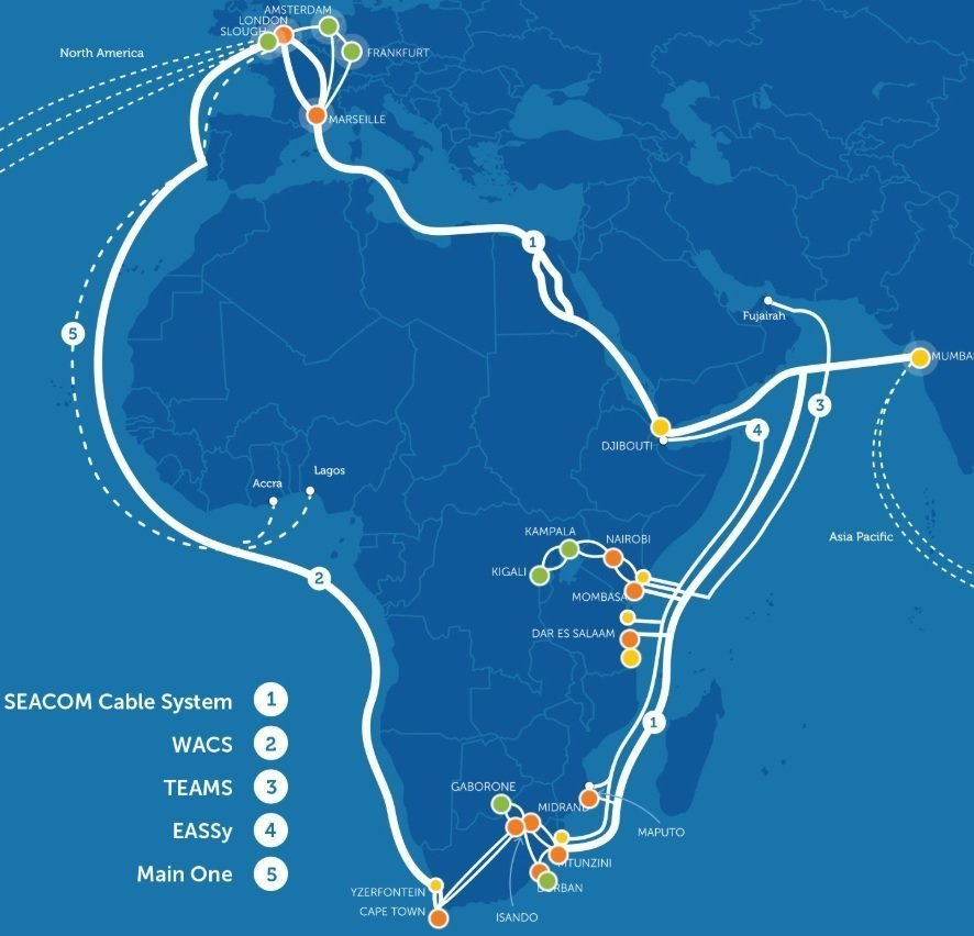SEACOM Updates the Progress of Submarine Fiber Optic Cable ... on global digital map, global satellite map, global magnetic map, global power map, global networking map, global renewable energy map, global wan map, global data map, global water map, global solar map, international fiber cable map, global network map, global security map,