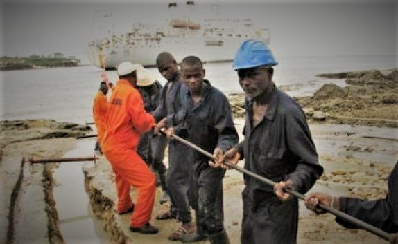 Installation crew is pulling Glo-1-submarine fiber optic cable in Osu, Accra, Ghana
