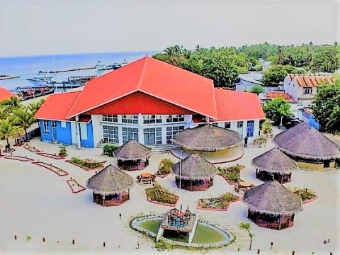 Seaside resorts in Meedhoo island in Maldives