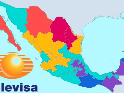 Map of Mexico showing the logo of Televisa