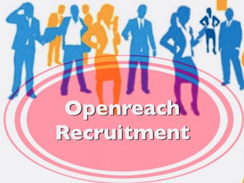 People standing with words of Openreach recruitment