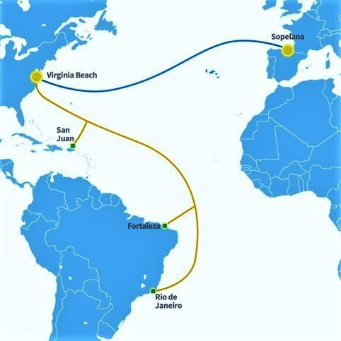 Map showing Europe, North America and South America with lines indicating the routes of Bursa and Marea submarine fiber optic cable through the Atlantic ocean