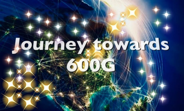 part of earth illuminated with lights and stars showing words Journey towards 600G