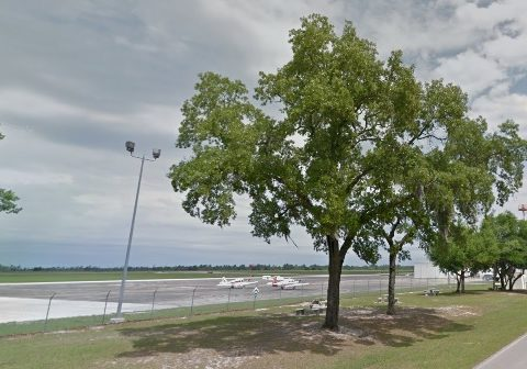 Keystone Heights airpark with aeroplanes parked visible through a tree from the road