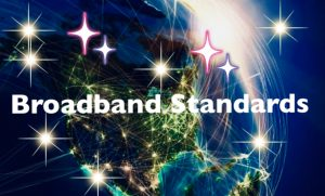 Illuminated picture showing letters of Broadband standards