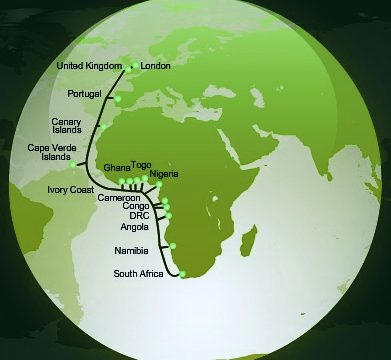 Image of a globe showing the route of WACS submarine fiber optic cable system connecting South Africa to the United Kingdom