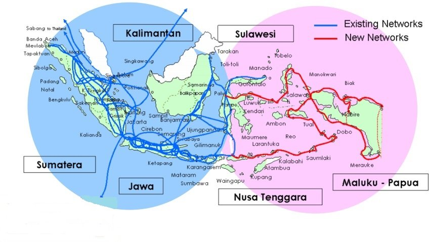 map showing Indonesia with fiber optic links connecting the islands