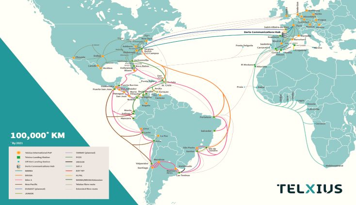 Submarine cable network between Americas and Europe